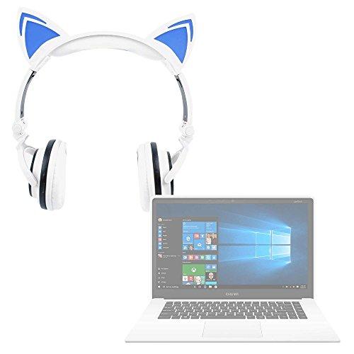 DURAGADGET Auriculares Plegables estéreo con diseño de Orejas de Gato en Color Blanco para Portátil Chuwi LapBook Air/InnJoo LeapBook A100 / Prixton Netbook 10.1