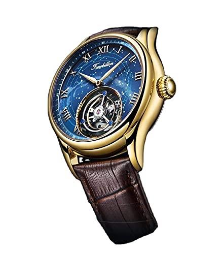 HKX Reloj Reloj mecánico con Correa de Cuero, Reloj automático, Reloj para Hombres, Reloj mecánico automático de Acero Inoxidable para Hombres, Cómoda Correa de Cuero (para Hombres y Mujeres), Dorado