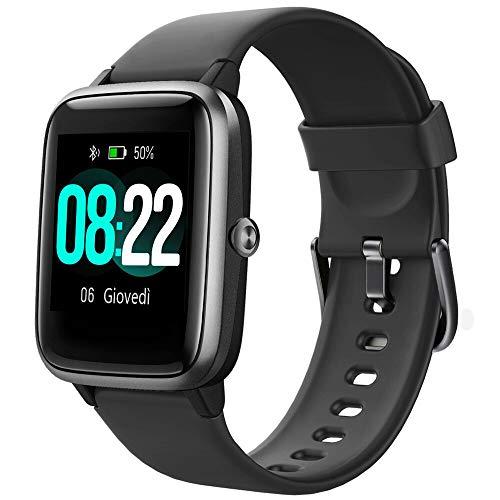 YAMAY Smartwatch Uomo Orologio Fitness Contapassi Cardiofrequenzimetro da polso per Android iOS Impermeabile IP68 Notifiche di Messaggi 9 Modalità Sport GPS Condiviso Cronometro Sonno Sveglia Nero