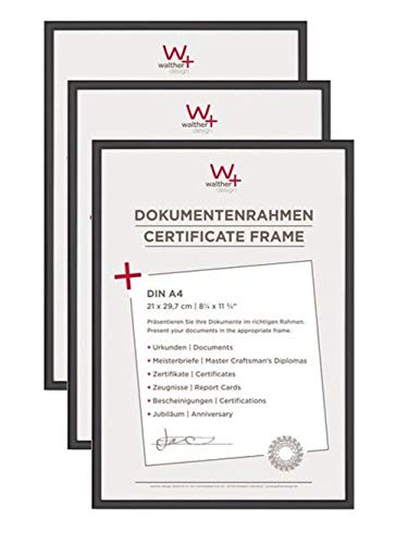 walther design New Lifestyle Kst.Rahmen 21 x 29,7 cm, Schwarz, 3er Pack