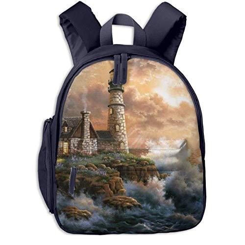 AOOEDM Kids School Backpack Cute Cabin Paintings Cartoon Backpacks Mini Book Bag for Primary Students