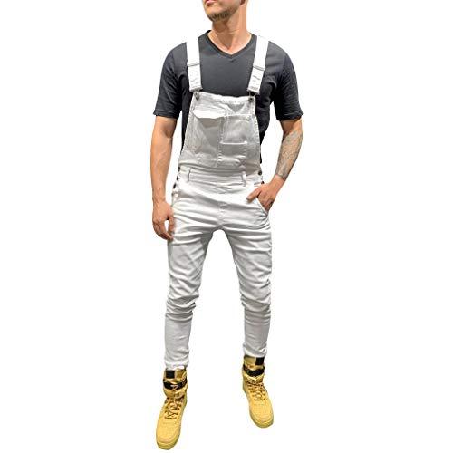 VANMO Herren Hosenträger,2020 Neu Herren Plus Pocket Jeans Overall Jumpsuit Streetwear Overall Hosenträgerhose Persönlichkeit Einzigartiger Charme Loch Altes Retro
