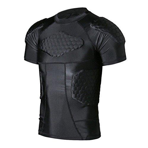 dgyao ® mens körper safe guard gepolstert - t - shirt short rib brustschutz für rugby football oder basketball spielenHockey