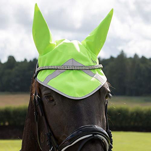 horze Reflektierende Ohrenhaube Pferd, Pferde Kopfbedeckung, Doppelter Klettverschluss, Größe Pony, Warmblut, Neon Gelb, Gelb, F