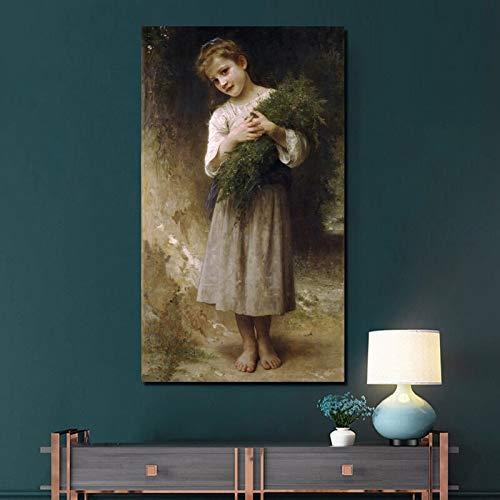 KWzEQ Bella Bambina Tela Stampa Soggiorno Decorazione della casa Pittura a Olio Moderna Arte della Parete Poster,Pittura Senza Cornice,60x110cm