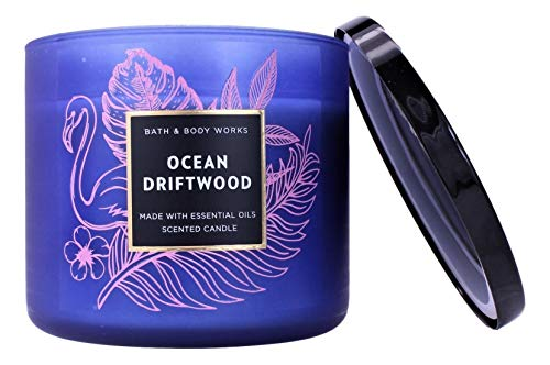 White Barn Bath and Body Works Ocean Driftwood 3 Wick Candle 2020 Blue Jar 14.5 Ounce