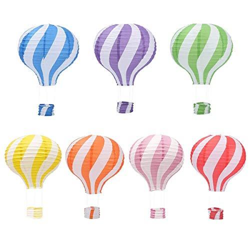 Hangnuo 7 Stück Heißluftballon-Papierlaternen, Lampenschirme zum Aufhängen, Girlanden-Dekorationen, Papier, Farbstreifen, 7 Pieces