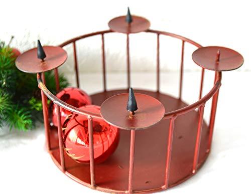 Maison en France Adventskranz - hübsche praktische Metallschale/Metallkorbn- D=22 cm- stabile Ausführung- mit 4 Kerzenhalter