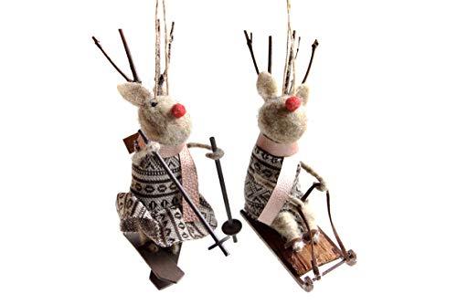 Gisela Graham skandinavisch Wolle Reh im Kleid mit SKI\'S oder Schlitten Weihnachtsdekoration (2er Set)