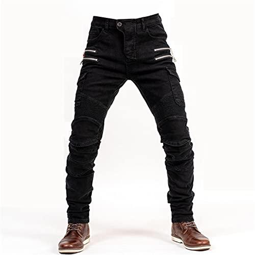 BEDSETS Schwarze Motorradhose mit Protektoren,Sportliche Motorrad Hose Mit Protektoren Motorradhose mit Oberschenkeltaschen (Black,M)