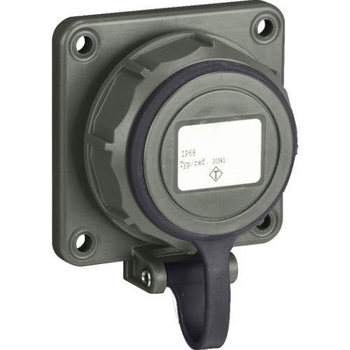 SIROX® Druckwasserdichte Einbau-Steckdose Ausführung Deckel am Band, Farbe olivgrün
