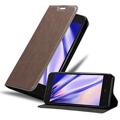 Cadorabo Hülle für BQ Aquaris X5 Plus in Kaffee BRAUN - Handyhülle mit Magnetverschluss, Standfunktion & Kartenfach - Hülle Cover Schutzhülle Etui Tasche Book Klapp Style