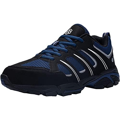 DYKHMILY Antiestático Zapatillas de Seguridad Hombre S3 SRC Antideslizante Zapatillas de Trabajo con Punta de Acero Transpirable Botas de Seguridad (Azul Negro,44 EU)