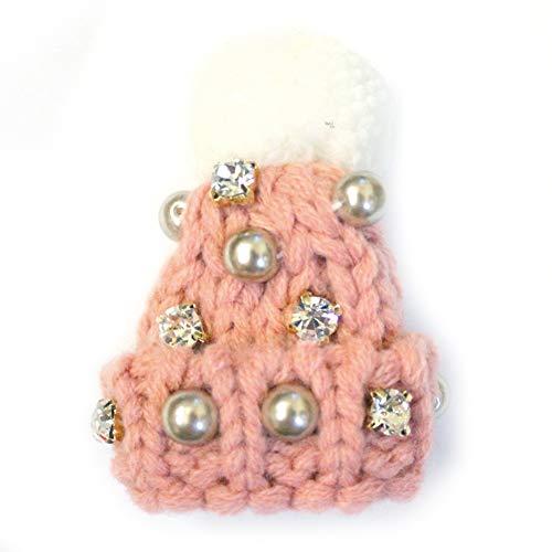 kobechouchou サンタ 帽子 ブローチ ヘアゴム ニット ビジュー パール 可愛い アクセサリー バッグチャーム (ピンクブローチ)