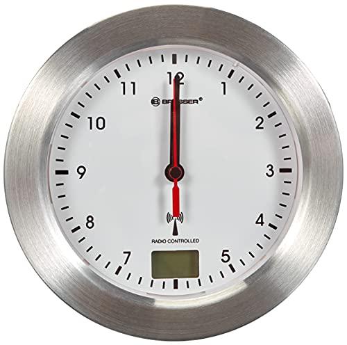 Bresser 8020114 Bad Wanduhr MyTime Bath mit Temperaturanzeige und Funkuhr mit gebürstetem Aluminiumrahmen, Saugnäpfen und Standfuß für Tischmontage, Weiß/Silber