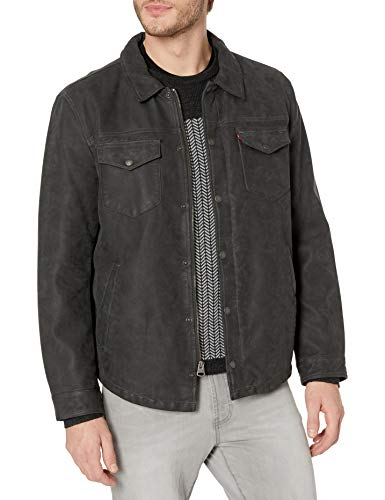Levi's Men's Smooth Lamb Touch Faux Leather Shirt Jacket, Dark Grey, Large