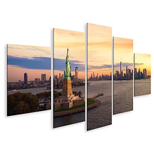 islandburner Bild Bilder auf Leinwand Freiheitsstatue New York City Manhatttan Hintergrund Sonnenuntergang USA Wandbild Poster Leinwandbild GEYM