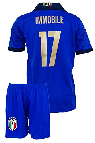 StoneMale 2021 Italien Heim Ciro Immobile #17 Kinder Trikot Europäische Nationalmannschaften (128, 4-5 Jahre)