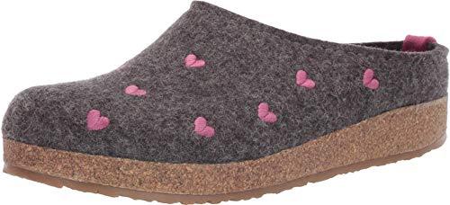 HAFLINGER Women's GZ Cuoricini Wool Clogs, Grey, 9