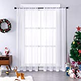 MRTREES White Sheer Curtains 54 inches Long Living Room Curtain Sheers Bedroom Voile Panels Drapes Rod Pocket Light Filtering Basement Window Treatments 2 Panels