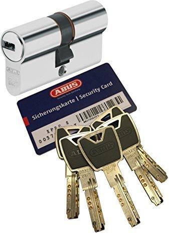 ABUS XP20S Doppelzylinder Länge (a/b) 30/30mm (c=60mm) mit Sicherungskarte und 5 Schlüssel mit Design-Clip, Not-u. Gefahrenfunktion und SKG** Bohrschutz