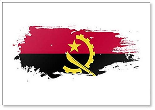 Kühlschrankmagnet Angola Flagge Grunge Brush Style Illustration