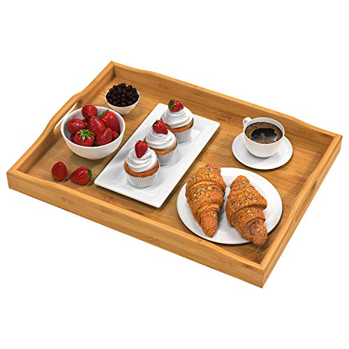 Pipishell Bamboo Serving Tray with Handles Rectangular Wooden Breakfast Tray Works for Eating, Working, Storing, Used in Bedroom, Kitchen, Living Room, Bathroom, Hospital and Outdoors-17x13x2inches