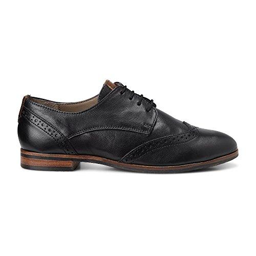 DRIEVHOLT Damen Dandy-Schnürschuh aus Leder, Schwarze Halbschuhe mit flachem Absatz Schwarz Leder 38