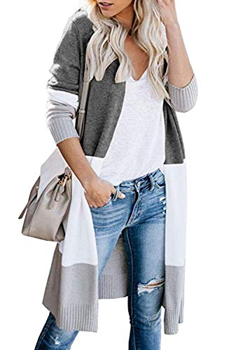 Bequemer Laden Strickjacke Damen Herbst Winter Outwear Casual Gestreift Cardigan Top Warm Bunt Lose Strickpullover Langarm Coat Vordere Leistentaschen Lang Strickmantel,Schwarz,S