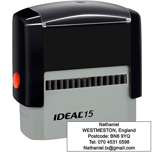 Timbri Personalizzati (70 x 25 mm-5 righe)- Timbro autoinchiostrante, personalizzabile- Ritorna il timbro dell'indirizzo personalizzato, Nero