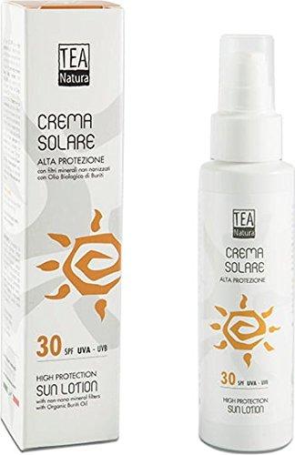 TEA NATURA - Crème Solaire SPF 30 - Aux filtres minéraux purs - Protège des rayons UVA et UVB - Également pour les peaux sensibles - 100% vegan - 100