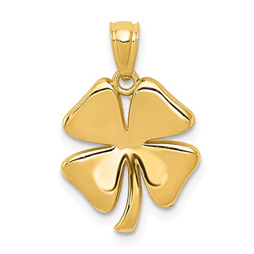 14k Yellow Gold 4 Leaf Clover Pendant Charm Necklace Good Luck Italian Horn Celtic Claddagh Fine Jewelry For Women Gifts For Her