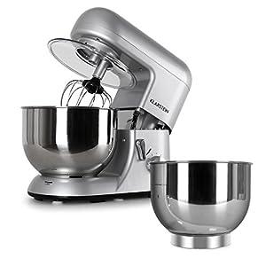 Klarstein Bella Argentea Set Robot de cocina y accesorios (1200W de potencia, velocidad ajustable, acero inoxidable) - plateado