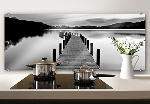 Spritzschutz Glasbild - Dmitry -Seepanorama - schwarz/weiß - Küchenspritzschutz - mit abgerundeten Ecken - 100x40 cm mit Klemmbefestigungen - SP39492 - Wall-Art