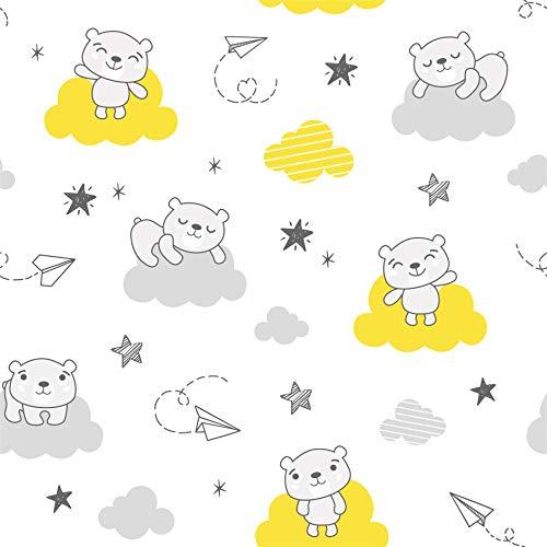 CangooCare - Juego de sábanas de 3 piezas para cuna de bebé, Montessori, 70 x 140 cm, cuna, ropa de cama, 100% algodón (nubes)