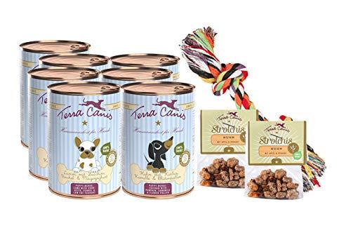 Terra Canis Kennenlernpaket M - Welpe, 7x400g, 2x10g Canireo & Goodie I Premium Hundefutter in 100{00a20770864d198f0479a1bc9435669f214d45ee5e55279b1445ef480906849c} Lebensmittelqualität Aller Rohstoffe I Reichhaltig & gesund I Allergenarm & glutenfrei
