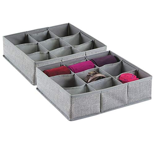 mDesign Soft Fabric Dresser Drawer and Closet Storage Organizer Bin for Lingerie Bras Socks Nylons Ties Belts Tank Tops Small Accessories  Divided 9 Section Tray Textured Print 2 Pack  Gray