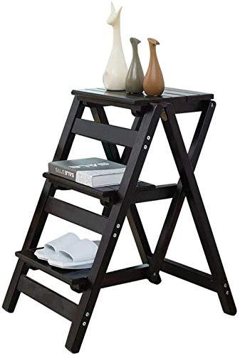 GHFHF Stepladder StepId - Calendario plegable para 3 mercados de madera ligera y plegable para niños adultos para bibliotecas, cocina, decoración del hogar, capacidad de 150 kg (color negro)