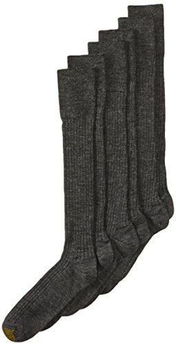 Gold Toe Men's Windsor Wool-Blend Over-the-Calf Dress Sock - 10-13 / Shoe: 6-12.5 - Charcoal (Pack of 3)