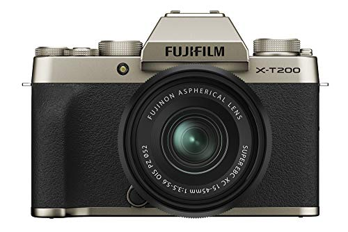 """Fujifilm X-T200 24.2 MP Mirrorless Camera with XC 15-45 mm Lens (APS-C Sensor, Electronic Viewfinder, 3.5"""" Vari-Angle Touchscreen, Face/Eye AF, 4K Video Vlogging, Film Simulations) - Champagne Gold"""