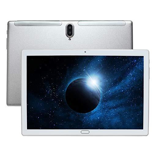Tablet 10 pollici, 4G LTE UCSUOKU Tablet PC Android 10, 4 GB RAM 64 GB ROM Processore Deca Core, touchscreen HD, fotocamera 5MP + 8MP GPS WiFi Bluetooth 5.0 scheda TF di tipo c tutto metallo (Argento)