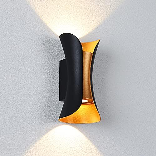 QEGY 2 Pcs LED Aplique de Pared Exterior, Moderna Lampara de Pared Interior con Blanca Cálida 3000K, Up Down Foco de Pared IP65 Impermeable para Jardín Pasillos Proyección de Luz Deco,Black 20cm