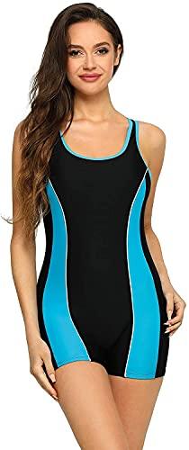 Ocean Blues Women's Boyleg Athletic One Piece Swimsuits Sport Bathing Suit (Large,Blue)