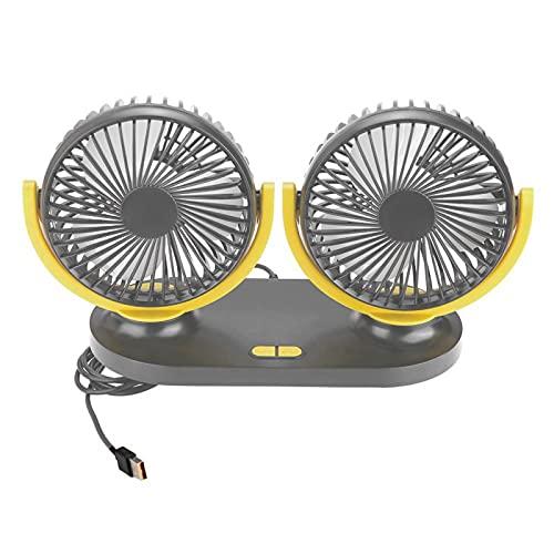 Ventola per auto, ventola per auto con raffreddamento a doppia testa USB da 12 V Potente ventola per il raffreddamento automatico del condizionatore d'aria portatile(Nero giallo)