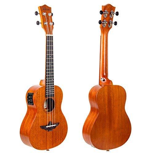 Aklot コンサートウクレレ 23インチ ソリッドクルミ製 初心者セット 18:1高精度ギヤペグ ビッグバッグ・チューナー・ストラップ・学習指導書など付き EQ搭載ハワイ4弦楽器(23インチ, EQ搭載)