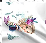 Meerjungfrau, Lila, Boho, Blumen, Mädchen Stoffe -