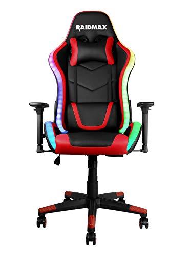 RaidMax Silla Gaming - Silla de Ordenador - ARGB -Serie DK925 Diseño óptimo; ergonómica y Ajustable - Silla Gamer (Rojo)