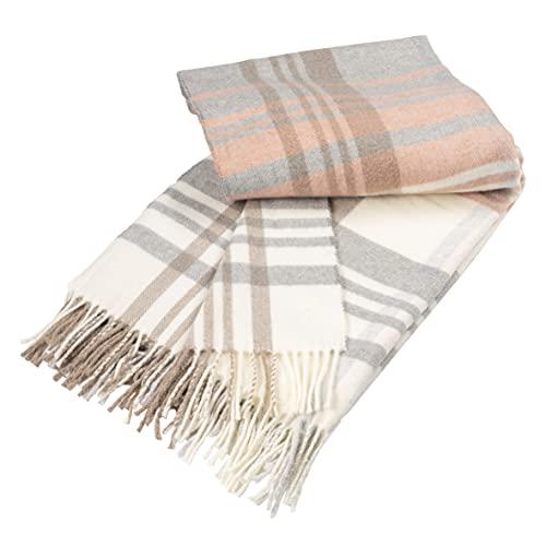 Baroni Home Manta de mezcla de algodón, manta de sofá escocés color cipria, manta fabricada en Italia, 130 x 170 cm (escocesa color cipria)