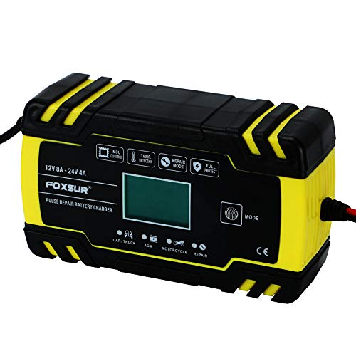 MorNon 8 Amp Intelligent Car Battery Charger Pulse Repair Starter 12V 24V...