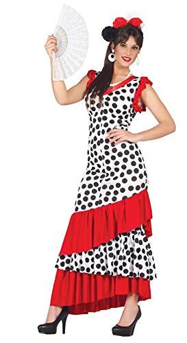 Fancy Me Damen Sexy Gepunktet Spanischer Flamenco Tänzer aus Aller Welt Kostüm Kleid Outfit - Weiß, Weiß, UK 16-18